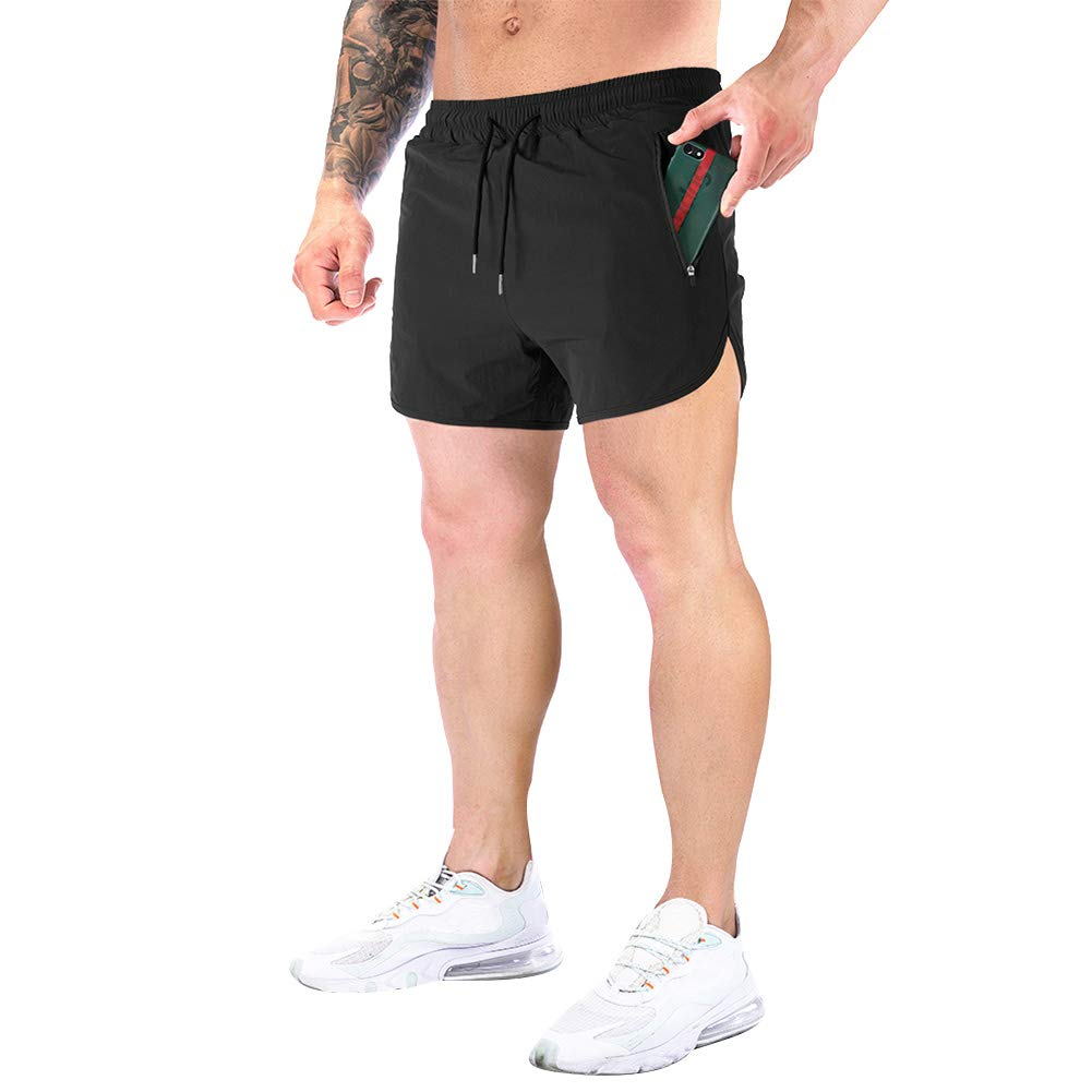 Annystore Fashion Mens Running Shorts Athletic Gym Workout Jogger Shorts with Zipper Pockets