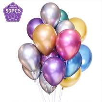 TONIFUL Assorted Color Metallic Chrome Balloons 12 inch Large Latex Balloons for Helium Wedding Birthday Kids' Party Decorations(50 Pcs)