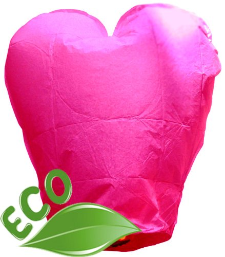 Just Artifacts Wholesale 240 ECO Wire-Free Flying Chinese Sky Lanterns (Set of 240, Wire-Free Heart, Pink) - 100% Biodegradable, Environmentally Friendly Lanterns!