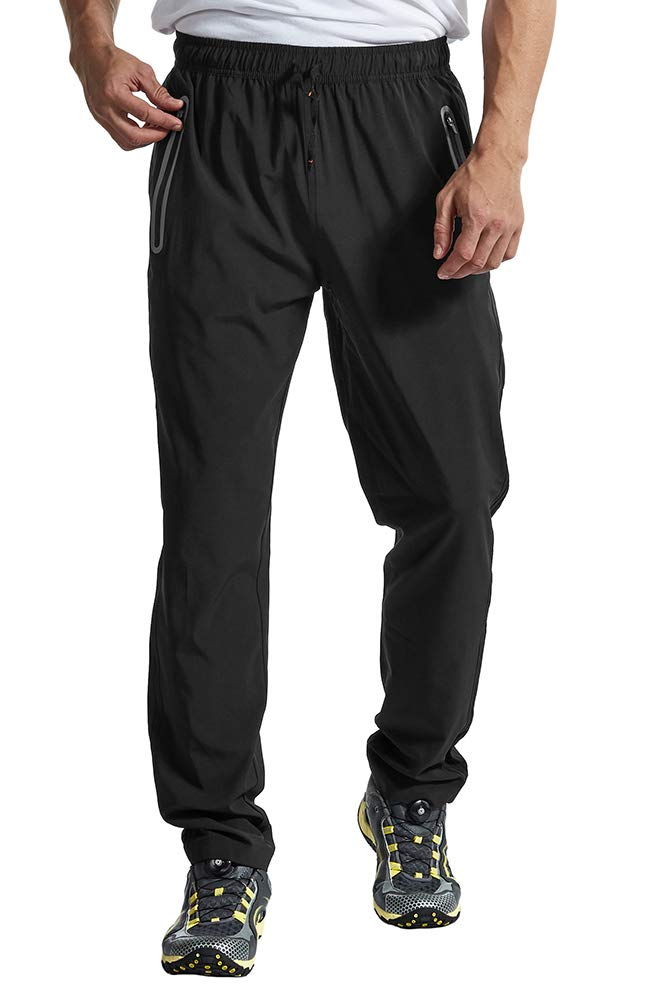 YSENTO Men's Lightweight Breathable Sport Joggers Athletic Pants Quick Dry Running Pants Zipper Pockets