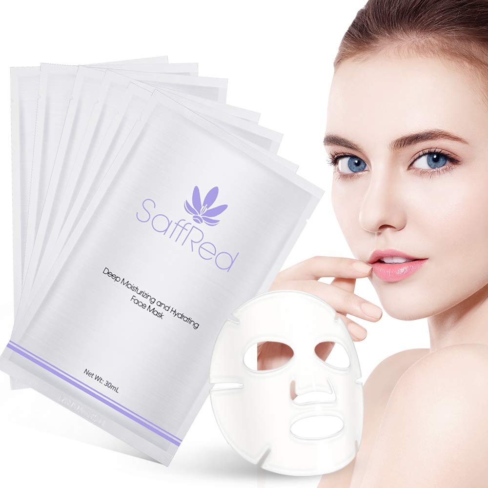 Deep Moisturizing and Hydrating Facial Mask by SaffRed | Natural Moisturizing Face Mask Sheet That Protects Skin from Drying Out |Pack of 6pcs
