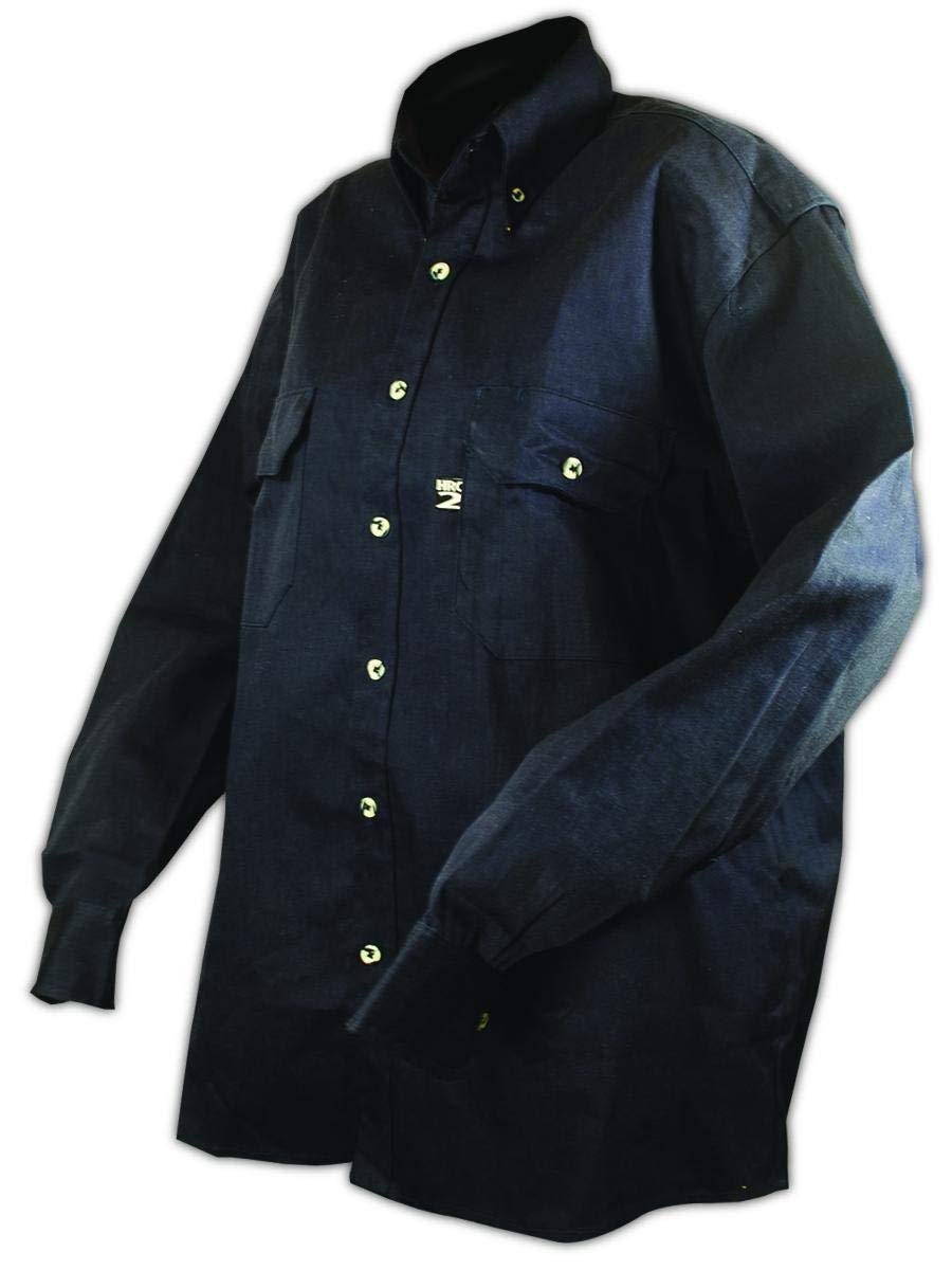 Magid Glove & Safety SHN88-S Magid Arc-Rated 7 oz. FR 88/12 Long-Sleeve Work Shirt, 4, Orange Navy , Small