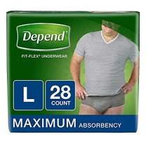 Depend FIT-Flex Incontinence Underwear for Men, Maximum Absorbency, L