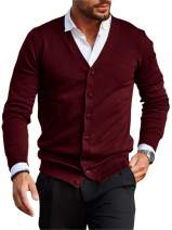 PASLTER Mens Casual Cotton Cardigan Sweater Button Down Relax Fit Lightweight with Ribbing Edge