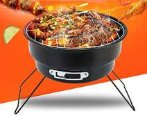 ColourTree Portable Folding Simple BBQ Charcoal Grill Black - Lightweight, Foldable - for Camping, Picnic, Outdoor (Round)