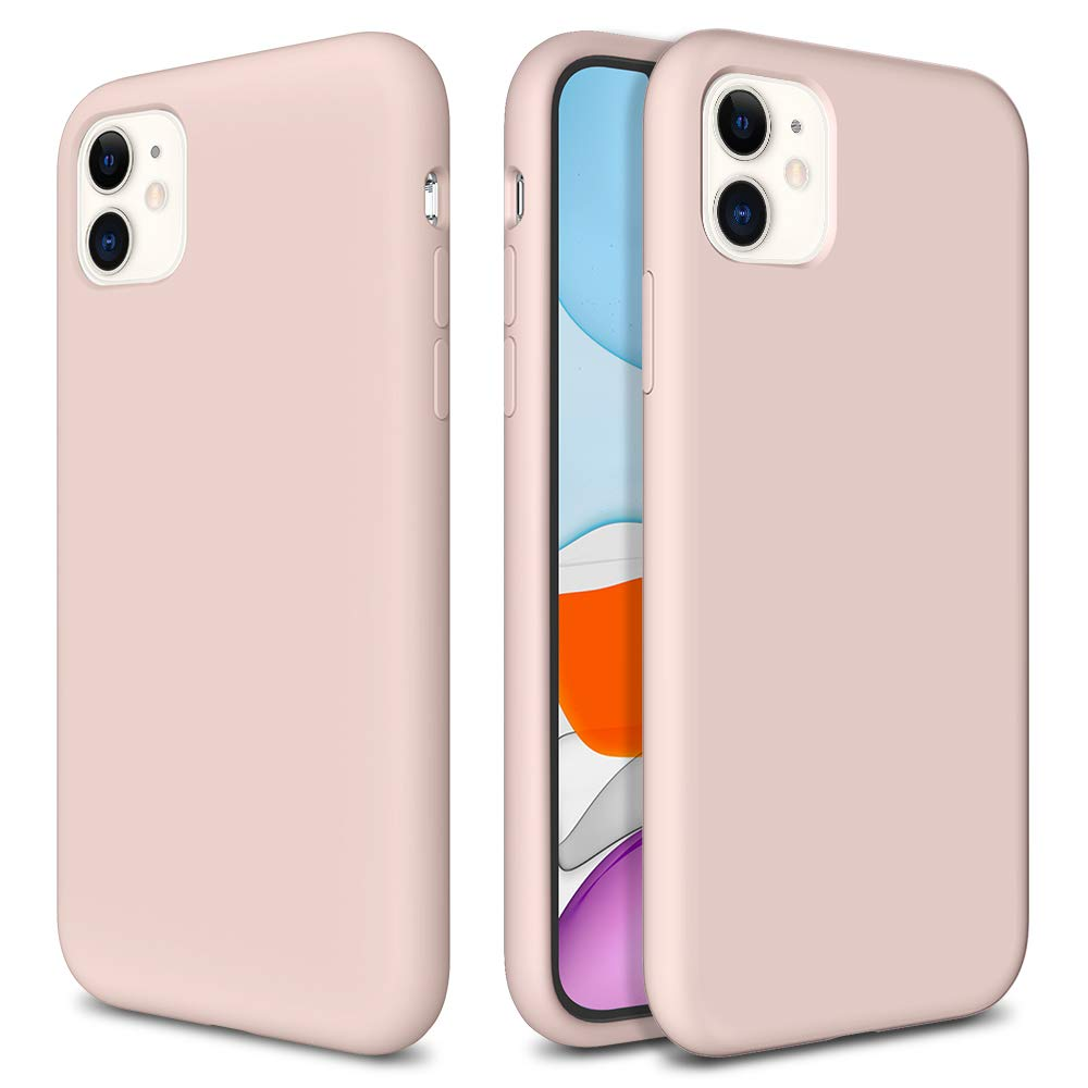 Caka iPhone 11 Case, iPhone 11 Liquid Silicone Case Gel Rubber Soft Slim Girly Luxury Microfiber Cloth Lining Cushion Protective Case for iPhone 11 Inches(Pink Sand)