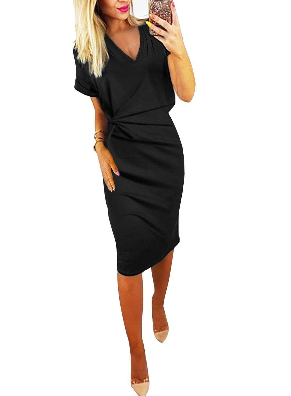 GOSOPIN Women V Neck Short Sleeve Ruched Bodycon Midi Dress