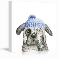 wall26 Square Dog Series Canvas Wall Art - Watercolor Painting of a Dog Wearing a Blue Hat - Giclee Print Gallery Wrap Modern Home Decor Ready to Hang - 16x16 inches