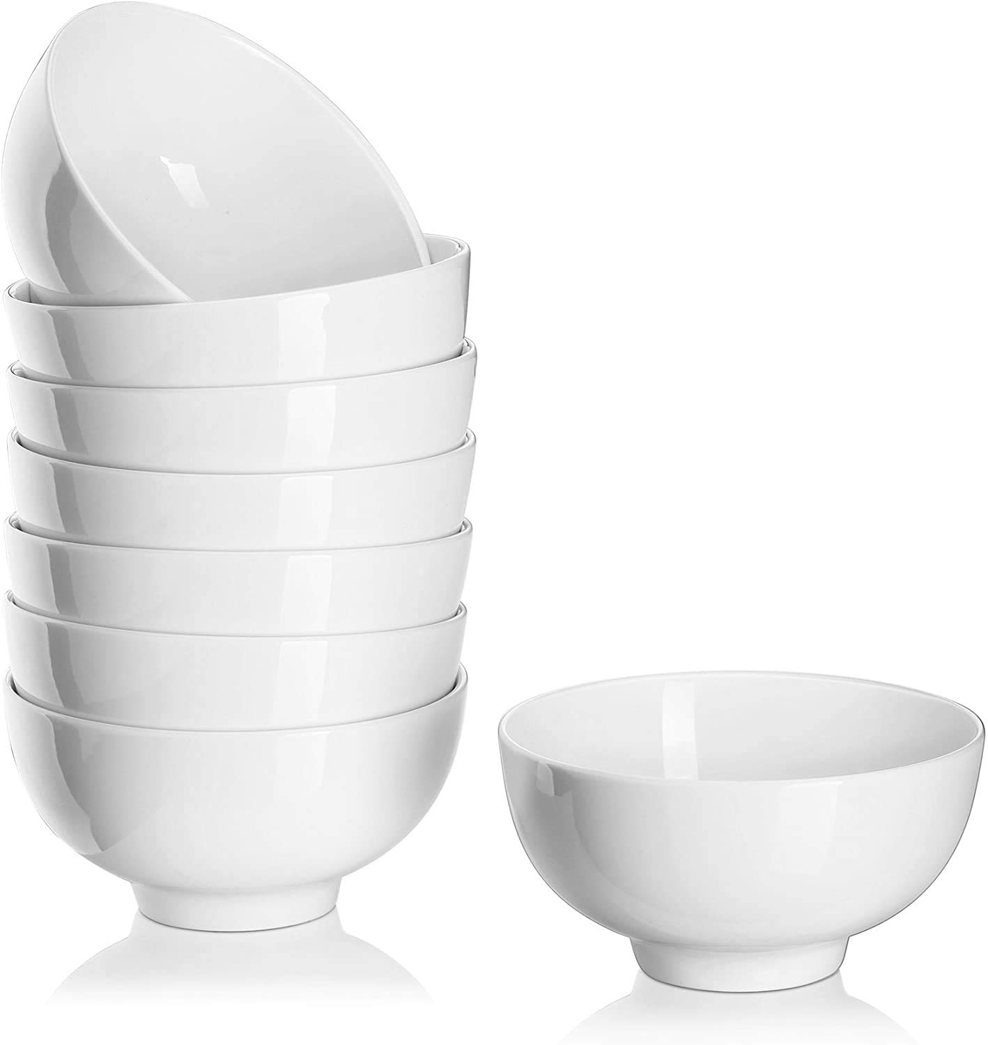 DOWAN 10 Ounce Small Bowl Set, 8 Packs Porcelain Bowls, Portion Control for Ice Cream, Dessert, Rice, Side Dishes, Food Prep or Serving, Dipping Sauce, Snack, Appetizer, 4.5 Inches, White