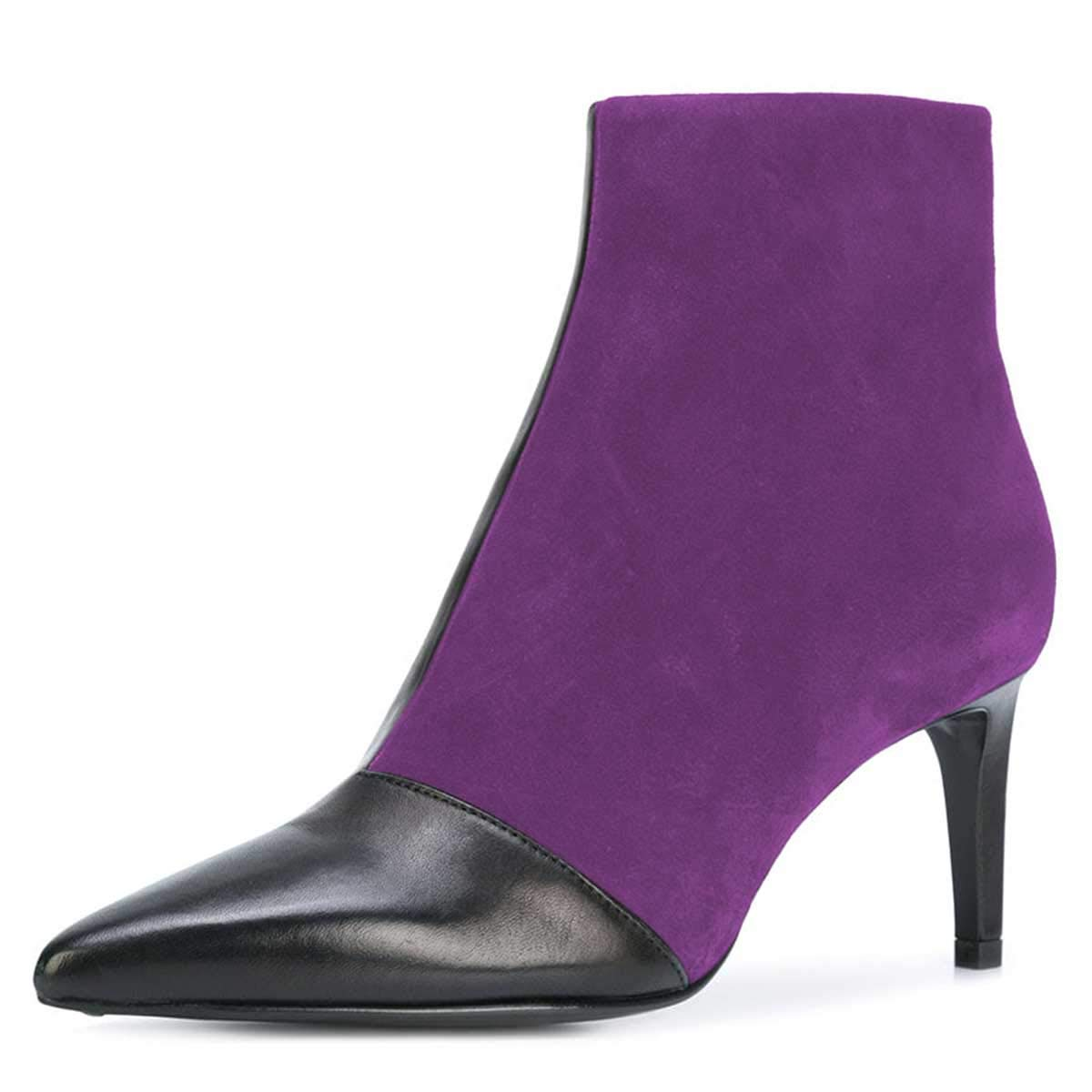 FSJ Women Fashion Pointed Toe Ankle Booties Mid High Heels Office Lady Comfy Dress Shoes Size 8.5 Purple