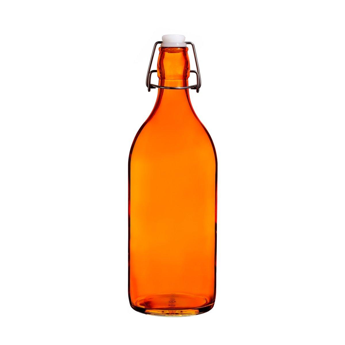 Colorful Reusable Glass Water Bottles With Swing Top Leakproof Cap, 1L / 34oz, Flowersea Glasss Water Bottle for Oil, Vinegar, Beverages, Beer, Water, Kombucha, Kefir, Soda (Orange, Round)