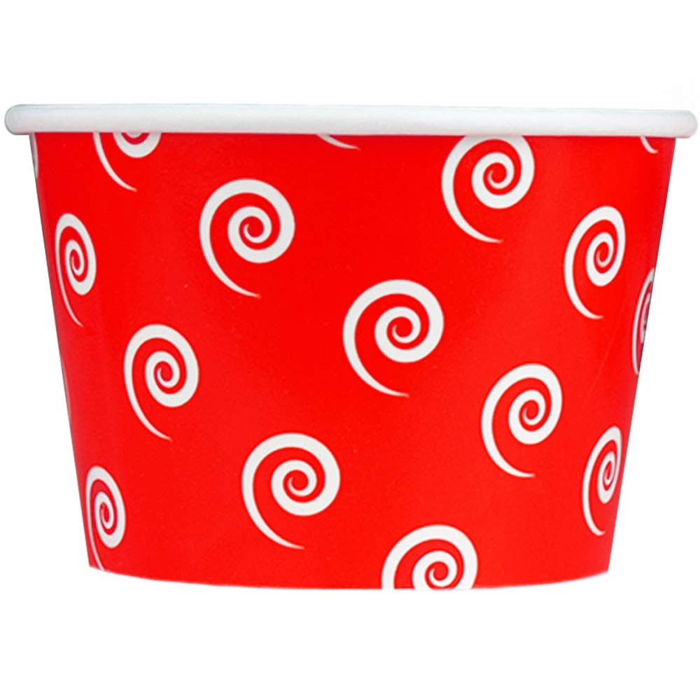 [100 Count] Valentine's Day Red Paper Ice Cream Cups - 8 oz Swirls And Twirls Disposable Dessert Containers Perfect For Yummy Treats! Frozen Dessert Supplies