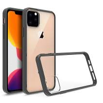 Olixar for iPhone 11 Pro Max Bumper Case - Hard Tough Cover - Crystal Clear Back - Wireless Charging Compatible - ExoShield - Shock Protection - Black/Clear