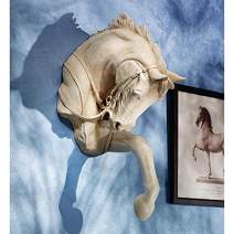 Design Toscano Thoroughbred Horse Wall Sculpture, 27 Inch, Polyresin, Ancient Ivory
