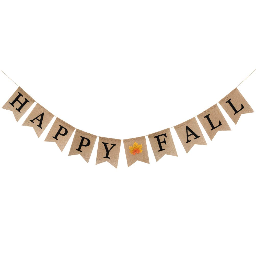 Thanksgiving Decorations,Kkonetoy Autumn Happy Fall Pumpkin Burlap Banner Harvest Home Decor Thanksgiving Day Bunting Flag Garland Party Decoration,fall banner,happy fall banner, Autumn Banner,thankful banner