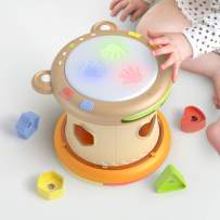 TUMAMA 3-in-1 Baby Musical Drum Instruments with Light and Sounds,Sorting Stacking Toys, Blance Maze Ball Toy Gift for Infants,Toddlers,Boys,Girls 6-24 Months&Up