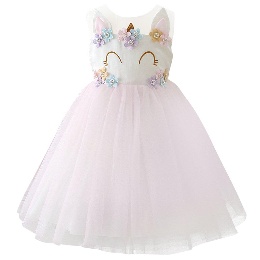 Flower Princess Girls Cartoon Birthday Pageant Party Rainbow Dress Up Costume+Headband Dance Outfits Wedding Gowns