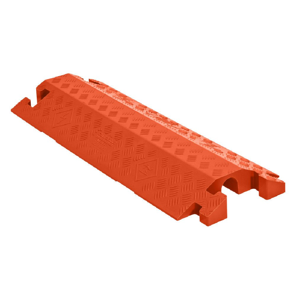"""Linebacker CP1X225-GP-DO-O Polyurethane Heavy-Duty General-Purpose 1-Channel Drop-Over Cable Protector with 2.25"""" Channel and T-Shaped Connectors, Orange, 36"""" Length x 14.25"""" Width x 3"""" Height"""