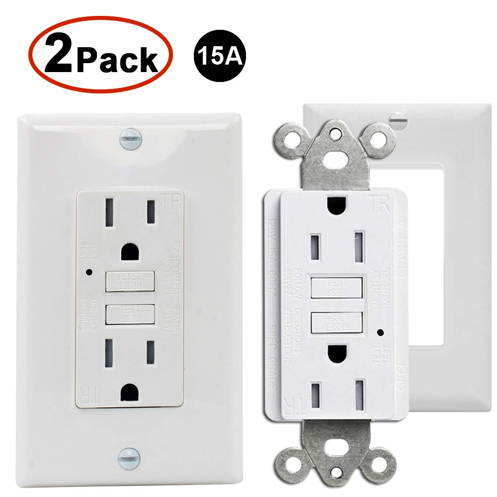 2 Pack GFCI Outlet 15Amp 125V Tamper Resistant Safety Wall Outlet with LED Indicator, Self-Test Duplex GFCI Decor Receptacle Wall Socket, Residential and Commercial Grade, ETL Listed