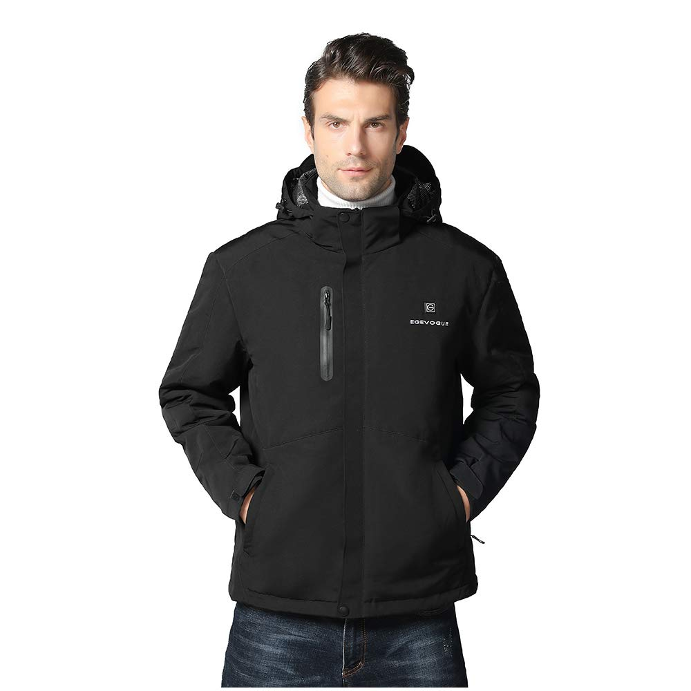 Gorich Men's Heated Jacket with Detachable Hood and Battery Pack,Waterproof Windproof Winter Ski Jacket Heated Coat