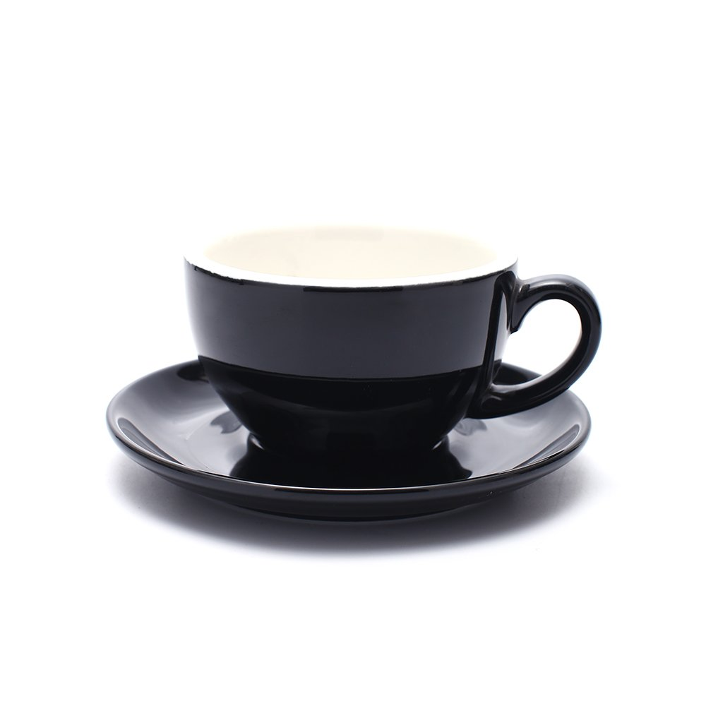 Coffeezone Cappuccino Barista Cup and Saucer Latte Art and Americano New Bone China for Coffee Shop (Glossy Black, 8.5 oz)