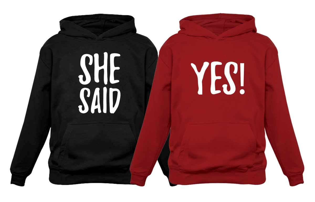 She Said Yes ! - Engagement Wedding Matching Valentine's Day Hoodie for Couples