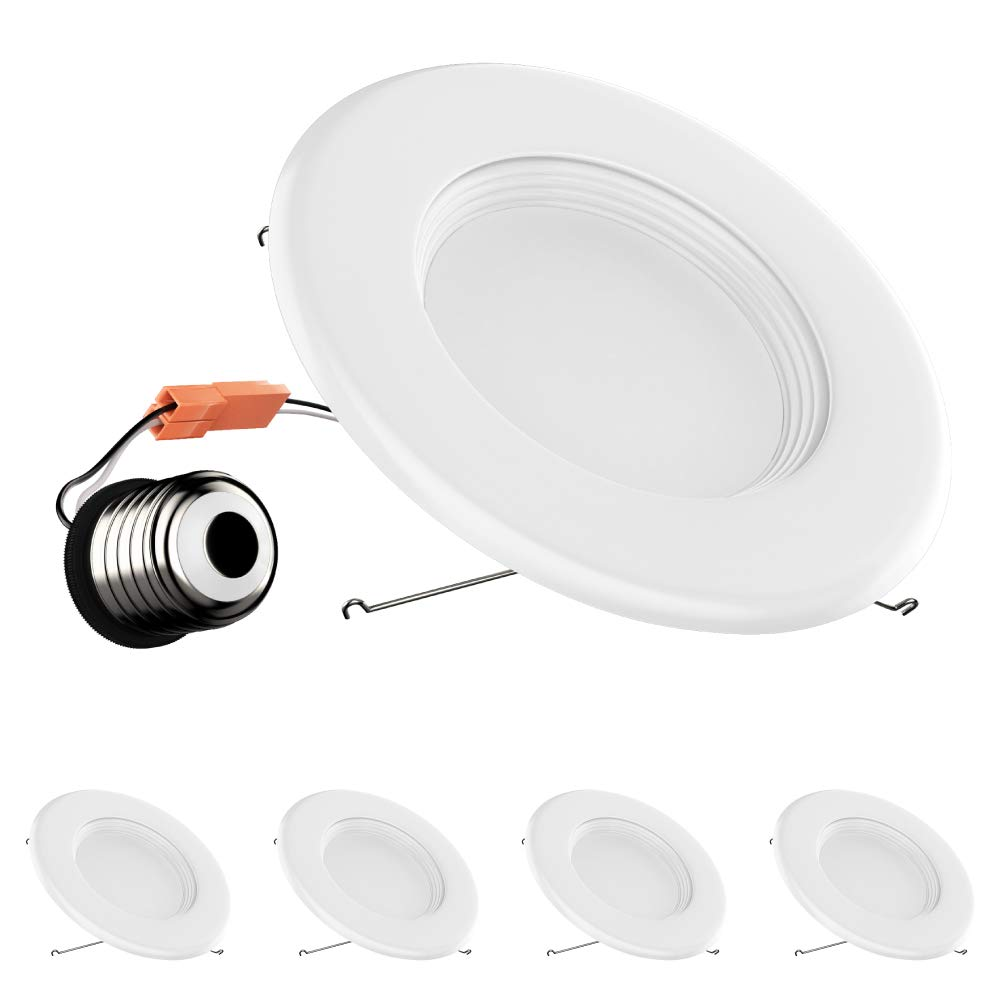 "4-Pack 5/6-inch Dimmable LED Downlights 1000 Lumens ; 15W Retrofit (Replace 100W), CRI 90+ [High CRI], 3000K (Soft White), 5/6"" Baffle-Trim Design, cETLus, Energy Star & FCC Approved"