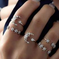 Evazen Boho Crystal Knuckle Rings Moon Star Silver Joint Knuckle Ring Set Delicate Fashion Rings for Women and Girls (5 Pcs)