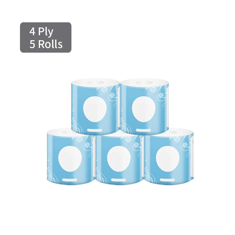MDDYF Toilet Paper Ultra Soft Bulk 5 Rolls Travel Pack, 4 Ply Comfortable Thick Degradable Bathroom Tissue Paper Roll, Absorbent Skin Friendly Toilet Paper Commercial, Household