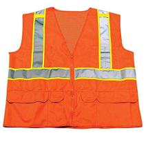 """Ironwear 1277FR-OZ-08-5XL ANSI Class 2 Flame Retardant Polyester Mesh Safety Vest with 2"""" Silver Reflective Tape over Lime, 5X-Large, Orange"""