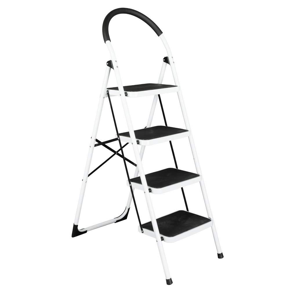 Teeker 4 Step Ladder Stool,Folding Step Stool,Portable Lightweight Folding Space Saving Ladders Multi-Use for Household/Market/Office-330 Lbs