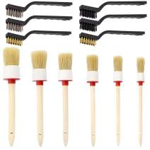 DaKuan Auto Detailing Brush Set, 12 Packs Master Detailing Brush for Cleaning Wheels, Air Vent, Engines, Interior, Exterior, Trim, Leather, Air Conditioner, Car, Motorcycle