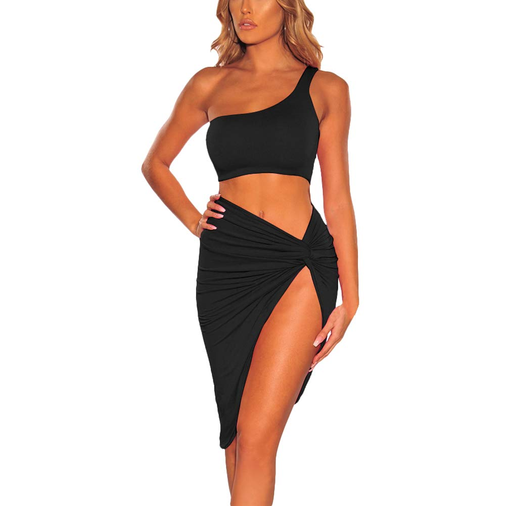 kaimimei Womens Sexy Bodycon One Shoulder Crop Tank Top Bodycon Irregular Hem High Slit Skirt 2 Piece Dress