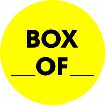 "Tape Logic Circle Label, Legend""Box_ Of_"", 2"" Diameter, Fluorescent Yellow, Roll of 500 (DL1267)"