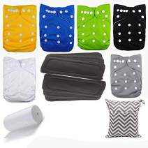 Lilbit 6 Solid Adjustable Baby Cloth Diapers with 6 Pcs Bamboo Charcoal Inserts,flushable Viscose Liners,Wet/Dry Bag Ymxtzzh07