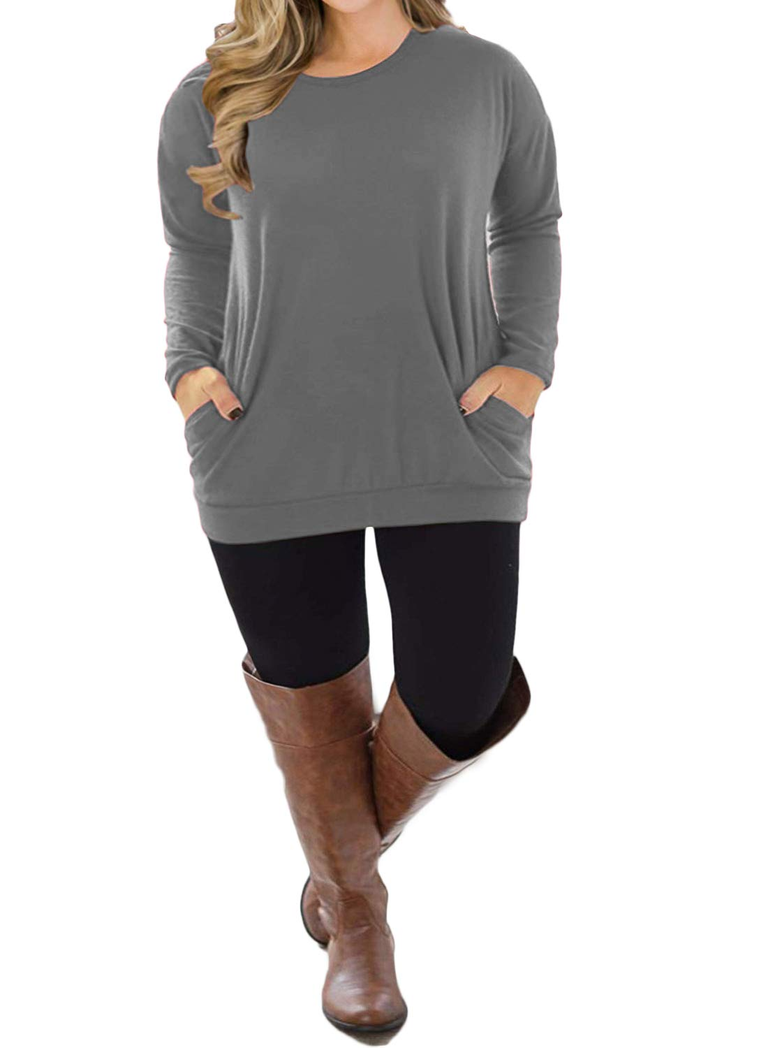 VISLILY Womens Plus Size Tops Long Sleeve Tee Shirts Loose Casual Blouse with Pockets