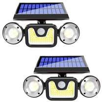 HUOSUC Solar Lights Outdoor with Motion Sensor, 3 Heads Security Lights, 83 COB LED Flood Light Motion Detected Spotlight for Garage Yard Entryways Patio, IP65 Waterproof 2 Pack