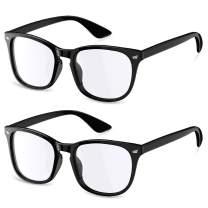 Blue Light Blocking Glasses 2 Pack for Women Men, Square Computer Gaming Reading Eyeglasses Anti Glare UV Ray Protection Anti Eyestrain
