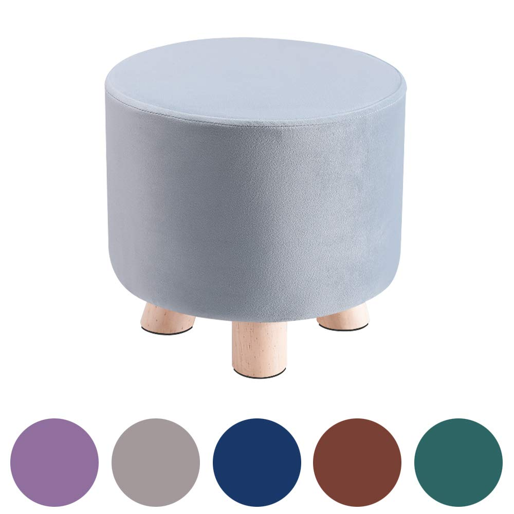 """HIGOGOGO Small Velvet Ottoman, Round Foot Rest Stool with Non-Slip Wooden Legs, Modern Footstool Seat Pouf for Living Room Sofa Bedroom Home Office, Dusty Blue, 11""""x11""""x9.8"""""""