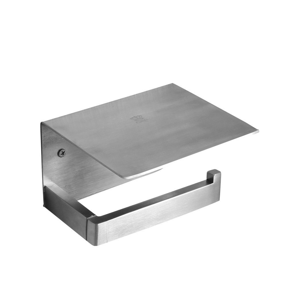 crw Phone Toilet Paper Holder with Storage Shelf Brushed Nickel Bathroom Tissue Roll Paper Holder Stainless Steel 31011