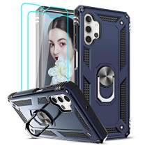 LeYi Compatible for Samsung Galaxy A32 5G Case (Not Fit A32 4G) with [2 Pack] Tempered Glass Screen Protector, [Military-Grade] Defender Phone Case with Ring Holder Kickstand for Samsung A32 5G, Blue