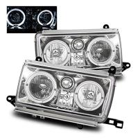 SPPC Chrome Crystal Headlights Assembly Set Halo For Toyota Land Cruiser - (Pair) Driver Left and Passenger Right Side Replacement Headlamp