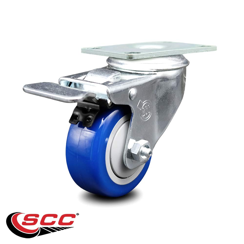 """Service Caster - 3"""" x 1.25"""" Blue Polyurethane Wheel Swivel Caster with Total Lock Brake - Non-Marking - 250 lbs/Caster"""