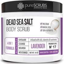 pureSCRUBS Premium Organic Body Scrub Set - Large 16oz LAVENDER BODY SCRUB - Dead Sea Salt Infused Organic Essential Oils & Nutrients INCLUDES Wooden Spoon, Loofah & Mini Organic Exfoliating Bar