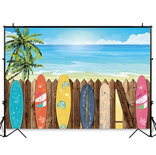 Funnytree 7X5FT Summer Beach Surfboard Photography Backdrop Hawaiian Luau Seaside Palm Background for Vacation Wedding Birthday Baby Shower Party Banner Decor Photo Studio Photobooth Props