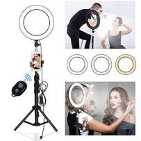 """9"""" Selfie Ring Light with Tripod Stand & Cell Phone Holder,Yefound Led Ring Light for YouTube/Live/Makeup, with Three Light Modes Mini Led Camera Ring Light Compatible with iPhone Android"""
