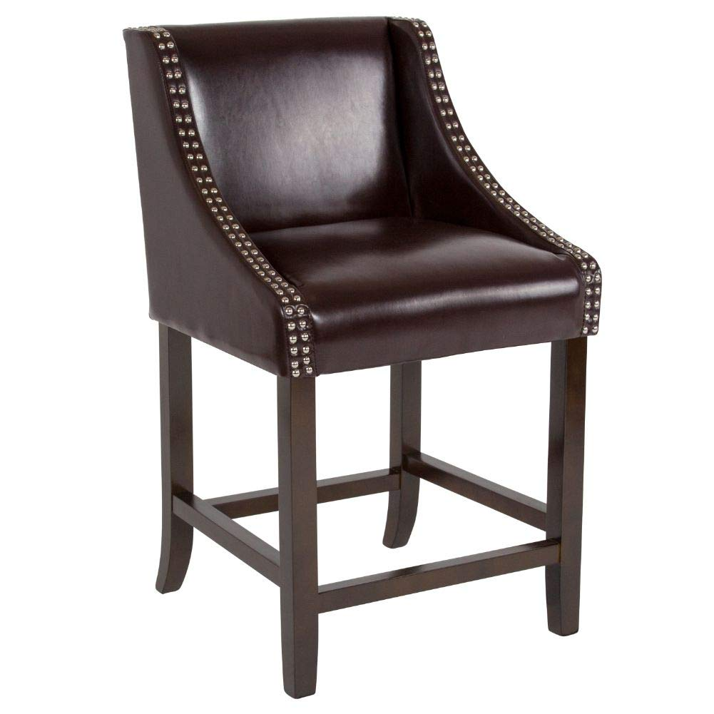 "Flash Furniture Carmel Series 24"" High Transitional Walnut Counter Height Stool with Accent Nail Trim in Brown Leather"