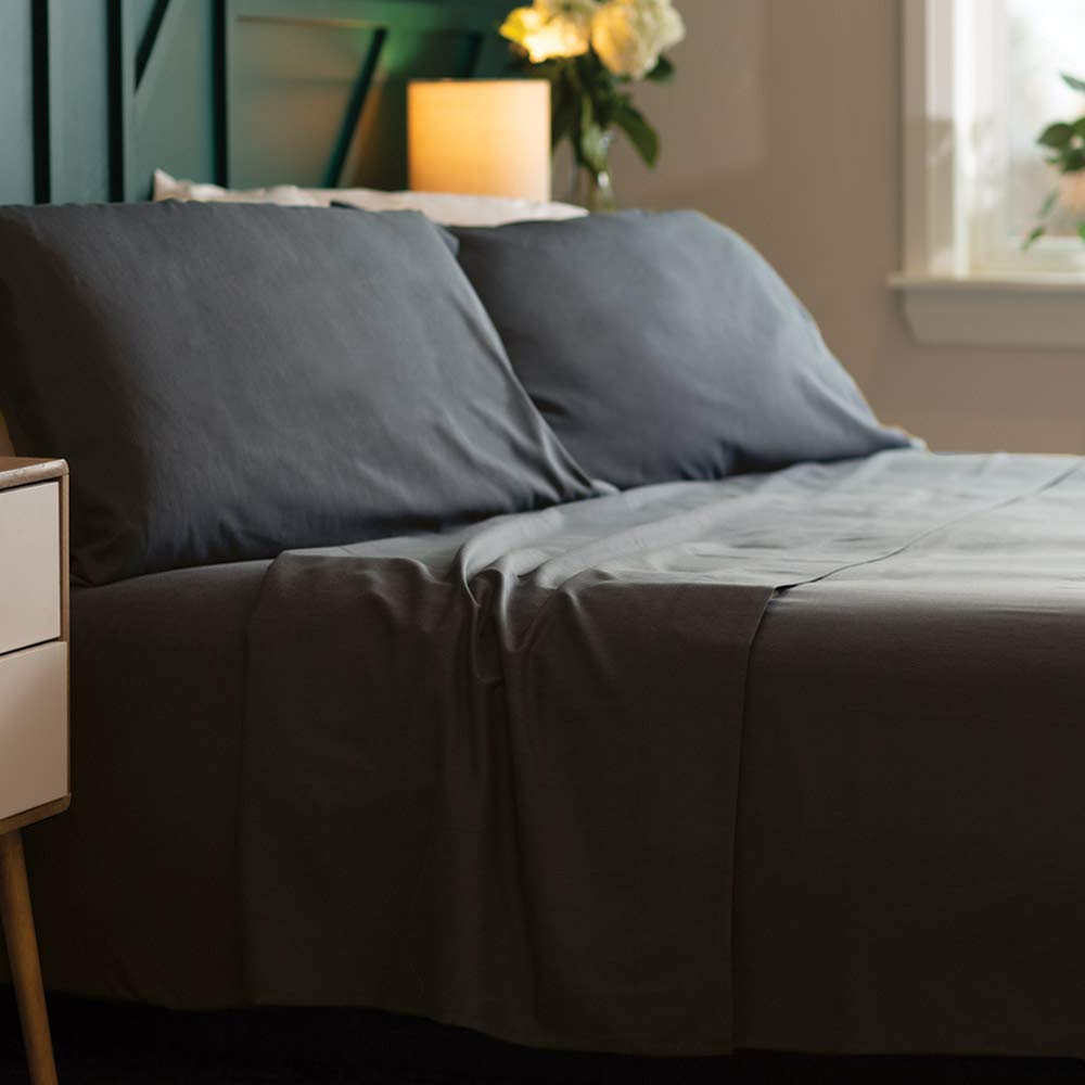 Bamboo Soft - Eco Friendly, Wrinkle Resistant Bamboo Fiber – Hypoallergenic and Breathable Viscose from Bamboo Blend 4pc Sheet Set (Charcoal, Full)