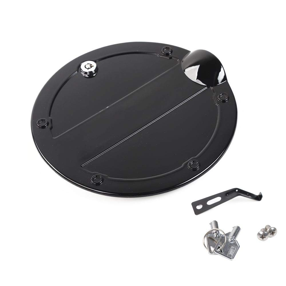 RT-TCZ Fuel Filler Door Gas Tank Cap Cover Accessories with Lock for Ford F150(2015-2019),Black