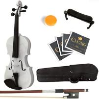 Mendini Solid Wood Violin with Hard Case, Bow, Rosin and Extra Strings (1/4, White)
